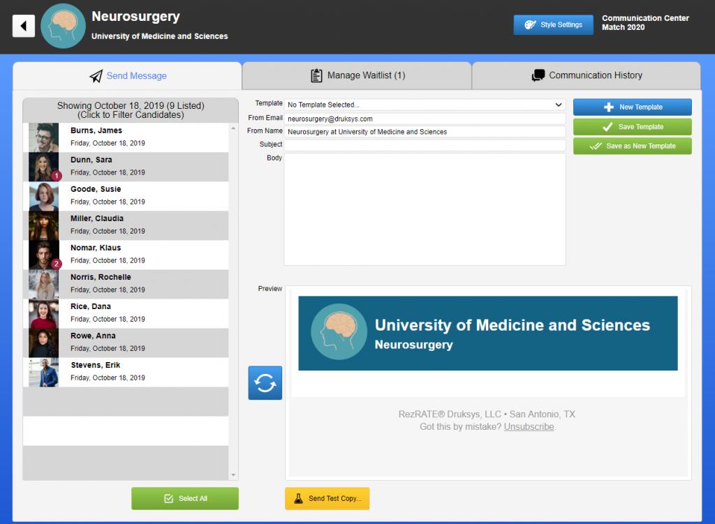screensshot of communications screen