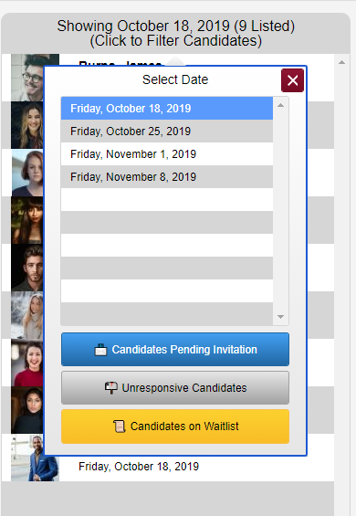 screenshot of candidates list menu