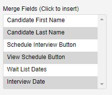 screenshot of merge fields menu options