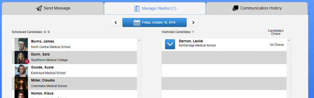 screenshot of manage waitlist section