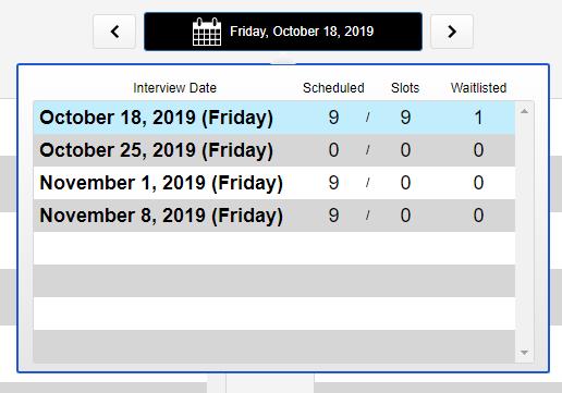 screenshot of waitlist date selector