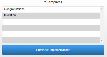 screenshot of communications search filter