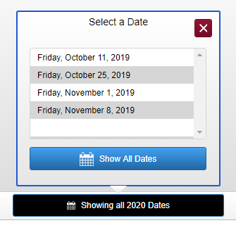 screenshot of scores page date selector