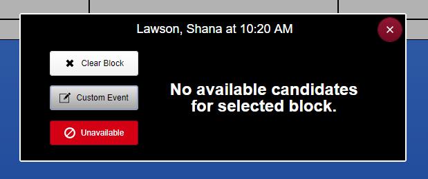 Screenshot of block menu options.