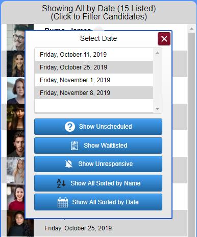 Screenshot of candidate list sort menu.