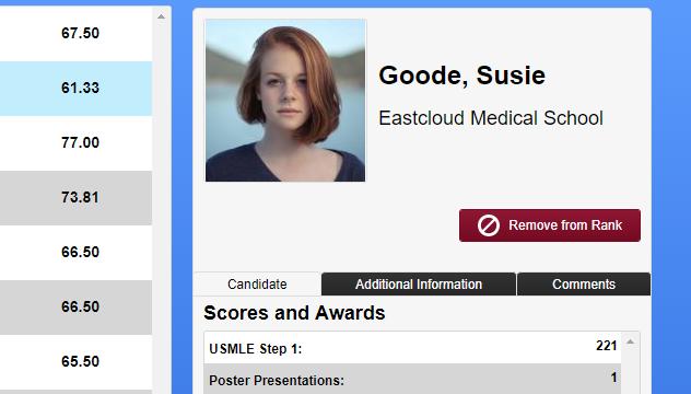 screenshot of candidate profile
