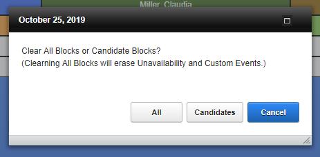 Screenshot of clear schedule options.