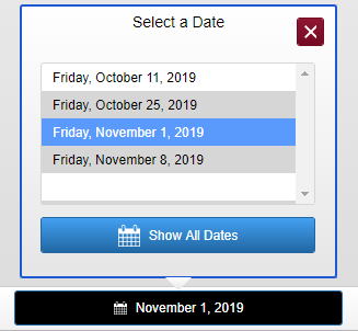 screenshot of the date display menu