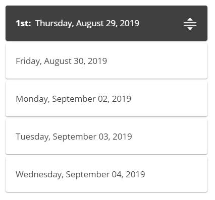 screenshot of date selector list