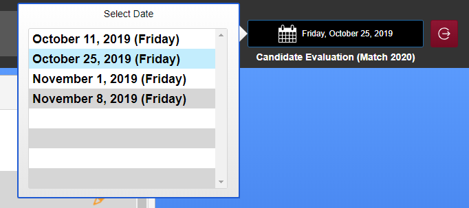 Screenshot of Date Selector button located in Evaluator Portal