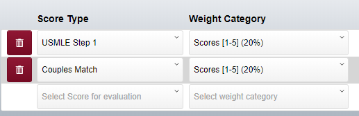 screenshot of evaluation question scores examples