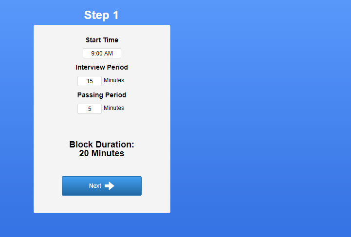 Screenshot of the first step prompt using the interview wizard