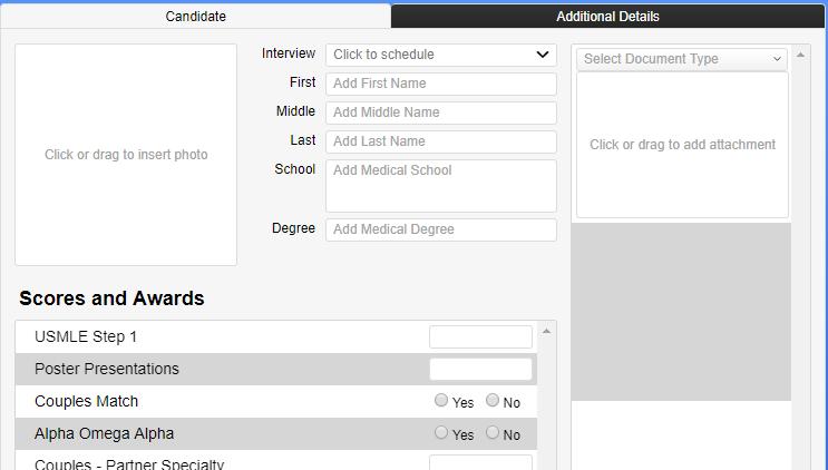 screenshot of new candidate fields