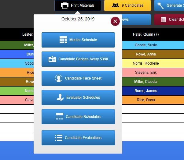 screenshot of print materials button menu.