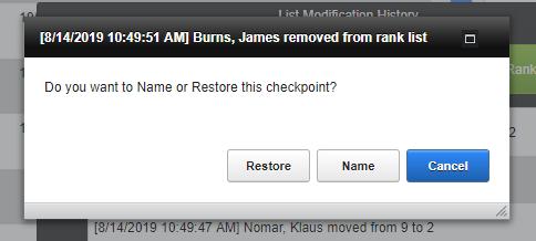 screenshot of checkpoint menu