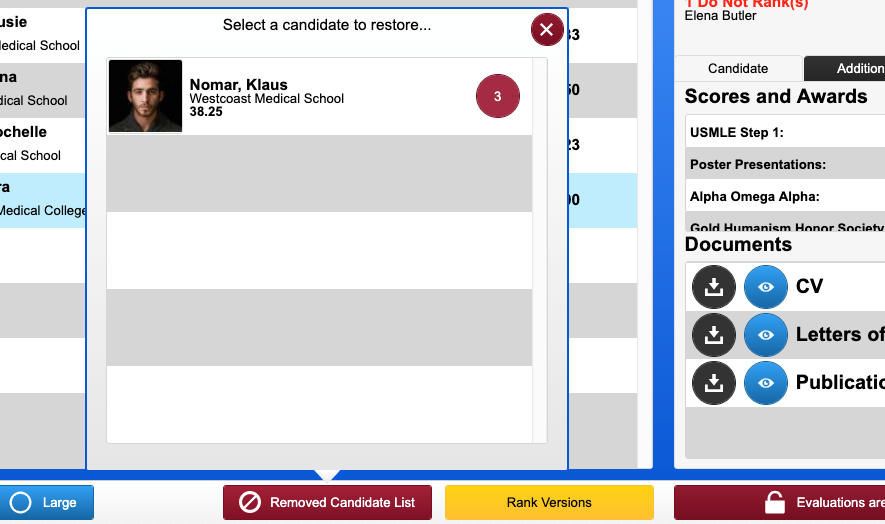 screenshot of removed candidates list