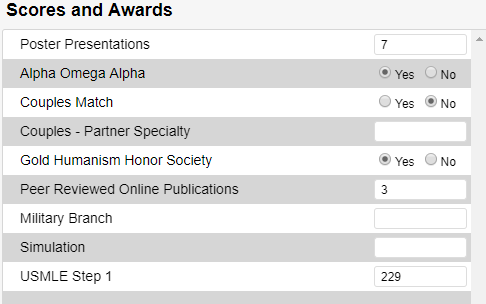 Screenshot of scores and awards from profile