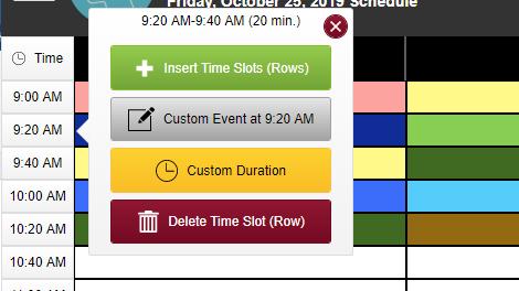 screenshots of timeslot block menu