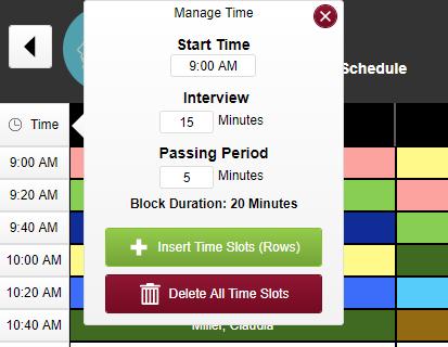 screenshots of timeslot clock menu