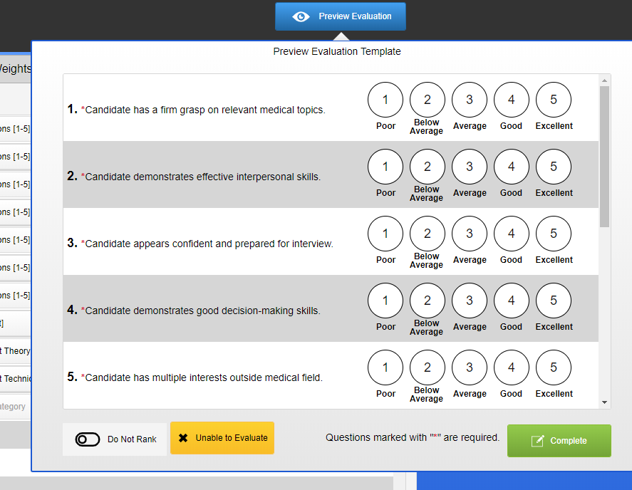 Screenshot of evaluation preview.